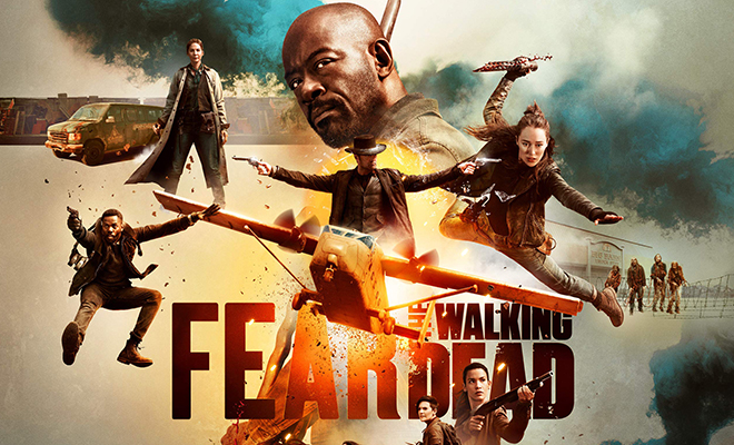 personagens principais no pôster da 5ª temporada de Fear the Walking Dead