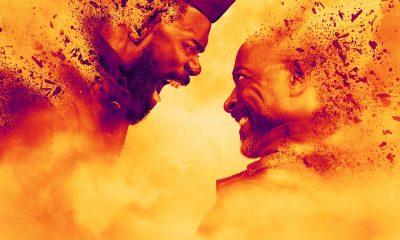 Victor e Morgan se encarando furiosos no pôster da 7ª temporada de Fear the Walking Dead.
